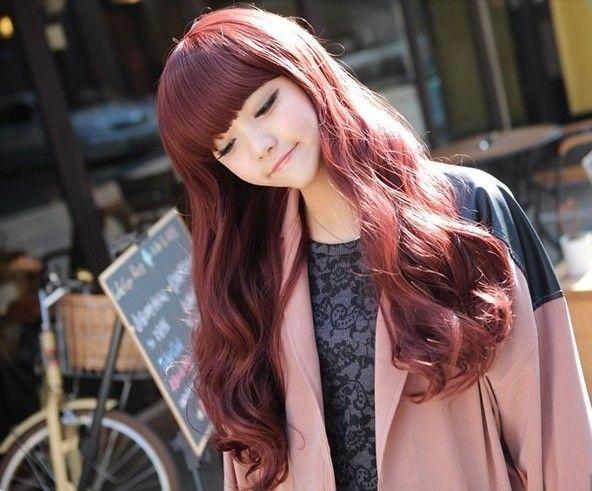 Free shipping Korean girls long curly hair wig Liu Qi BOBO fluffy jiafa burgundy in pear fashion hairstyle - Taobao