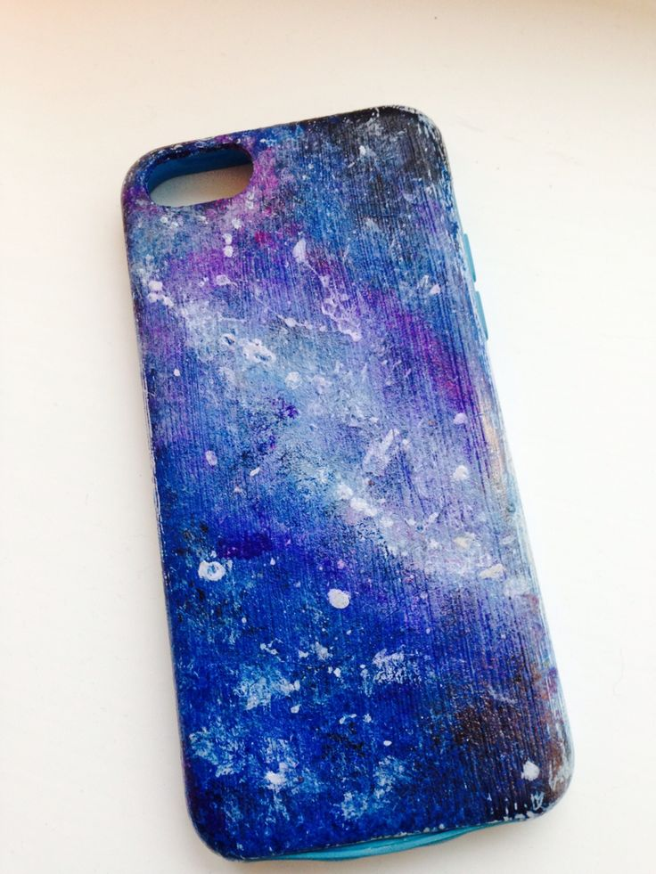 Revamped an old phone case by creating this galaxy effect with acrylic paint