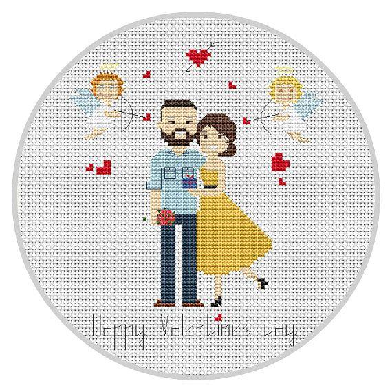 Cross stitch Love Valentines gift for girlfriend by Xrestyk