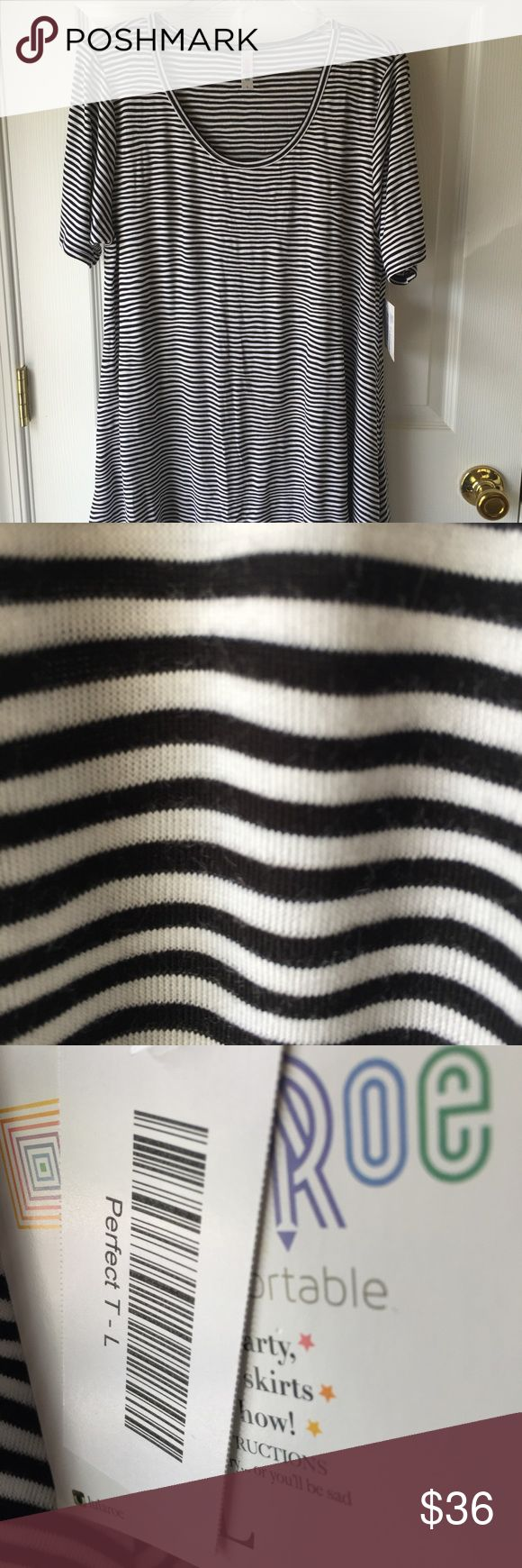 Black and White Striped Perfect Tee Size Large Lularoe Black and White striped Perfect Tee size Large; NWT. LuLaRoe Tops