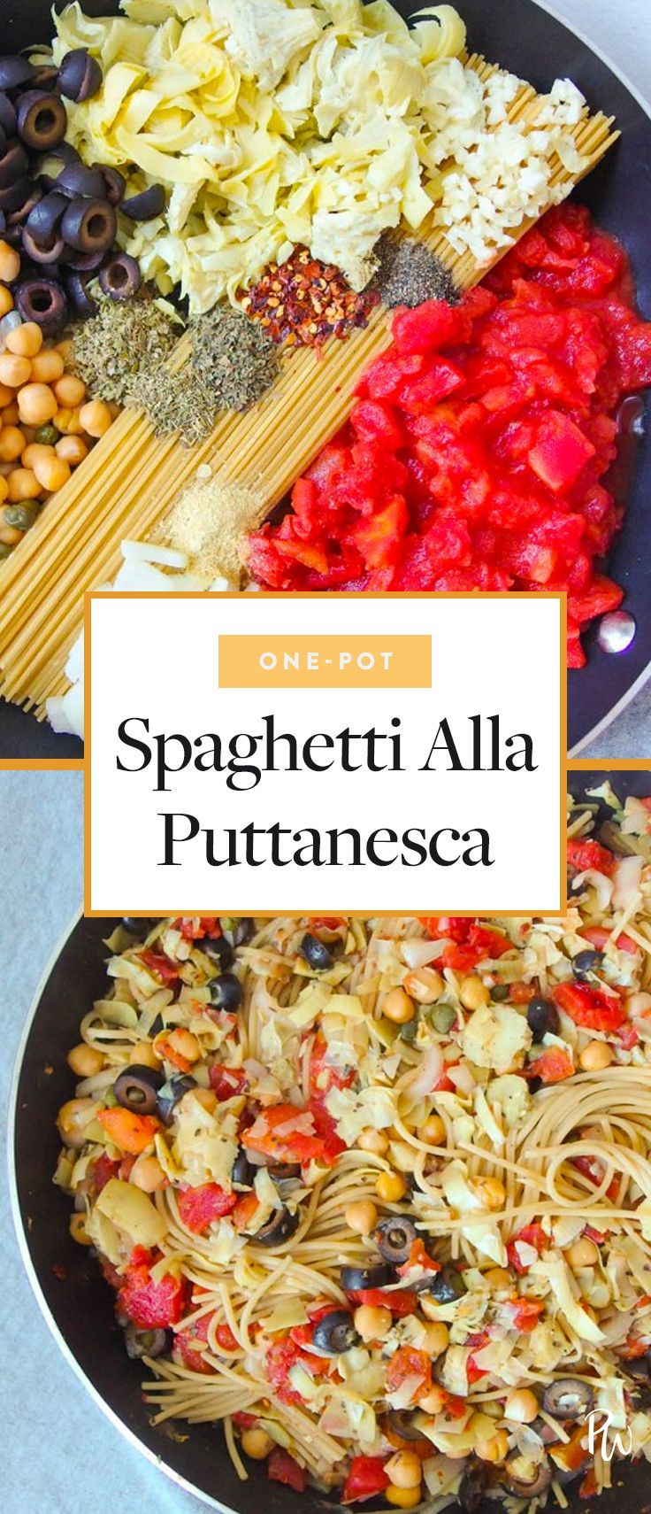 Get the recipe for this spaghetti alla puttanesca by Yum It's Vegan and more delicious pasta recipes under 500 calories. #recipes #healthyrecipes #veganrecipes #veganrecipes #puttanesca #pastarecipes #pasta