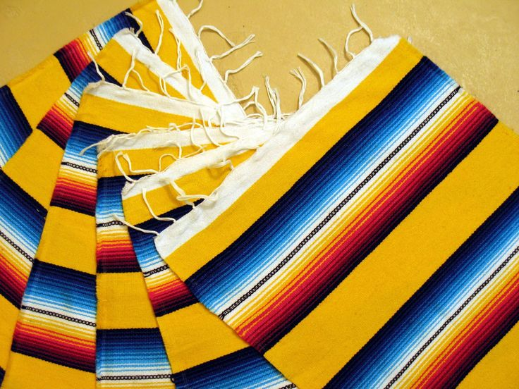 Serape Placemat Onws19-Yellow Southwestern Southwest Mexican Style Fringed Set 6