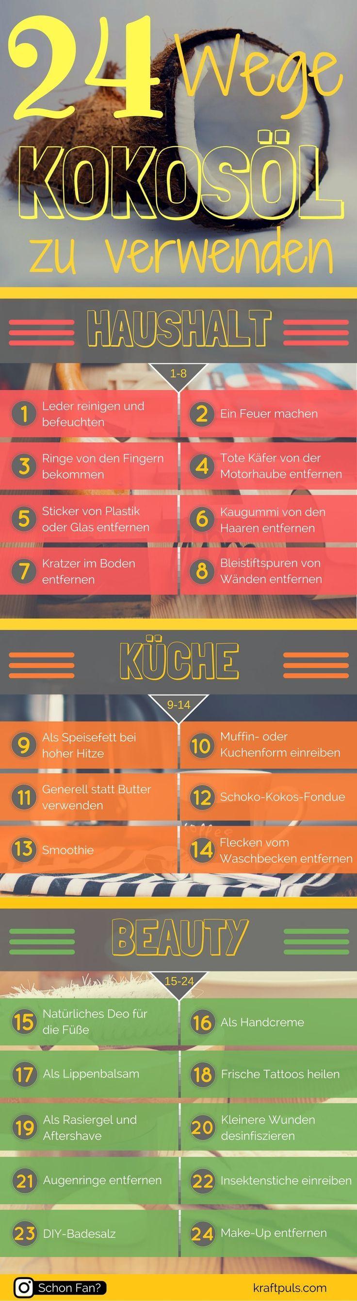 Kokosöl Anwendung: 24 Wege, das Wundermittel zu verwenden. #gesund #kochen…