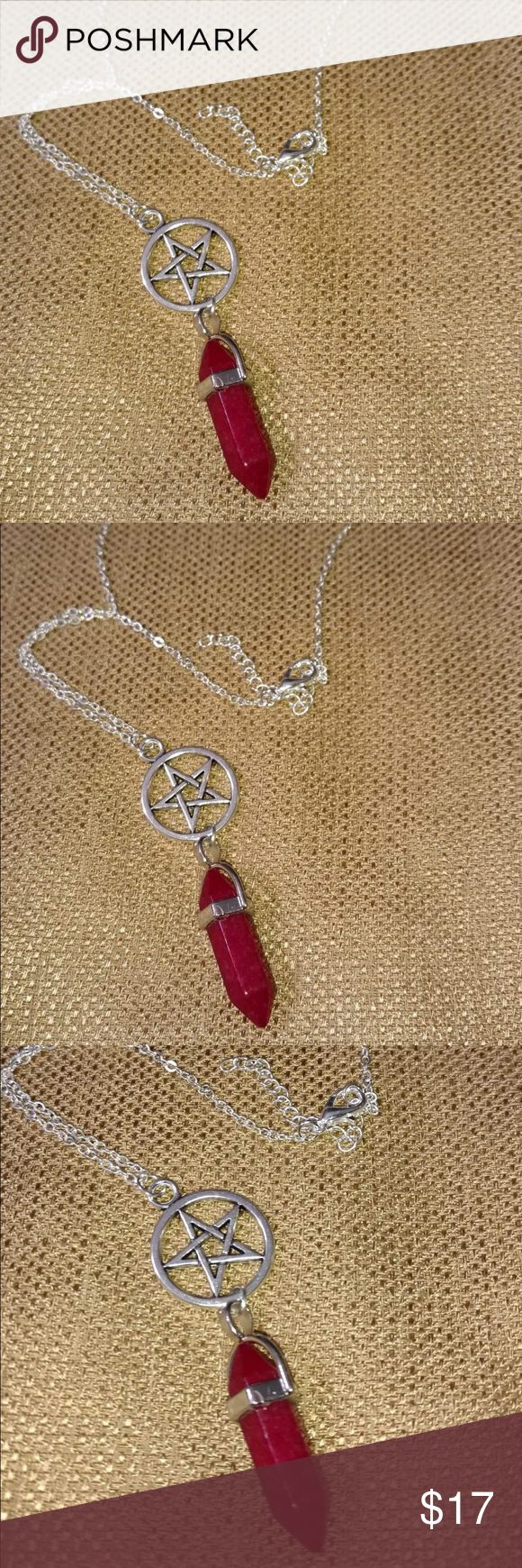 Natural Red Agate Crystal Pentagon Necklace Beautiful Natural Red Agate Crystal Hexagonal Column  Pentagon Necklace Jewelry Necklaces