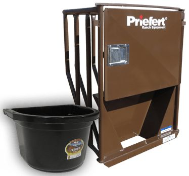 For convenient feeding without entering the stall, choose Priefert' s Premier Stall Feeder in place of a window option with your Premier Stall Front (sold separately).