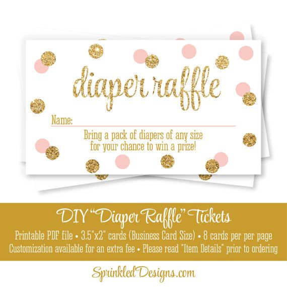 Printable Diaper Raffle Tickets - Blush Pink Gold Glitter Baby Girl Baby Shower Game Ideas - Bring A Pack of Diapers - INSTANT DOWNLOAD by SprinkledDesigns.com