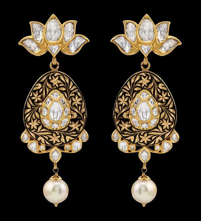 diamond and pearl chandelier earrings