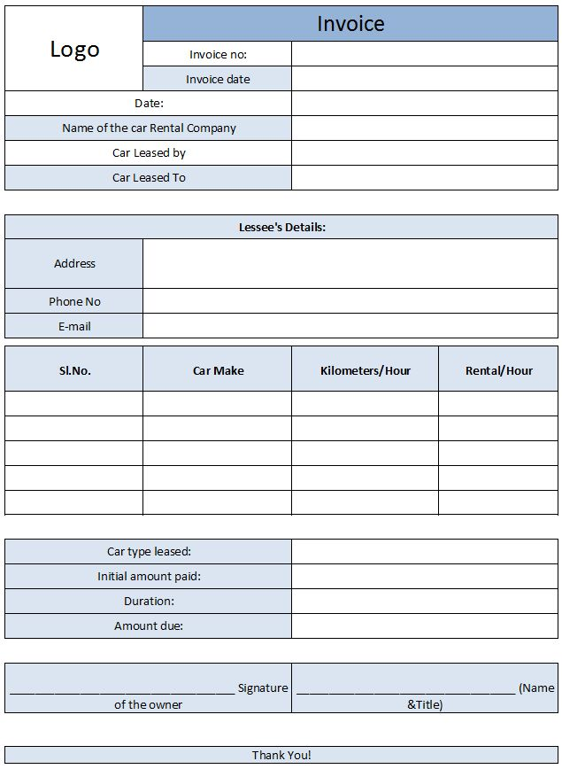 Car Rental Invoice Template Free Enterprise Car Rental Invoice - Free Online Spreadsheet Templates