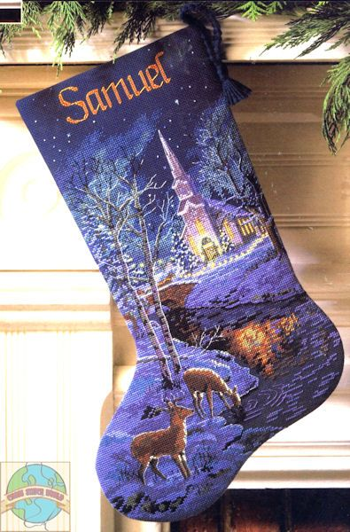 Gold Collection - Peaceful Evening Stocking - Cross Stitch World