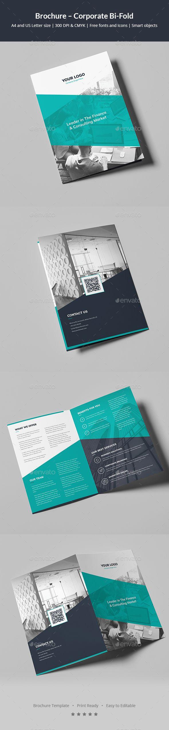 Corporate Bi-Fold Brochure Template PSD