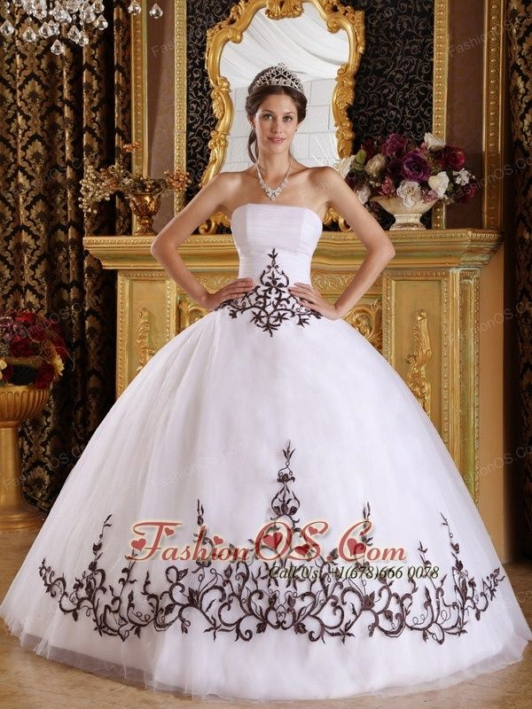 Discount White Quinceanera Dress Strapless Tulle Embroidery Ball Gown- $198.16
