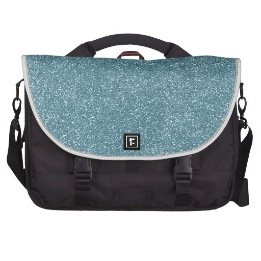 PANTONE Aquamarine baby blue with faux Glitter Laptop Commuter Bag