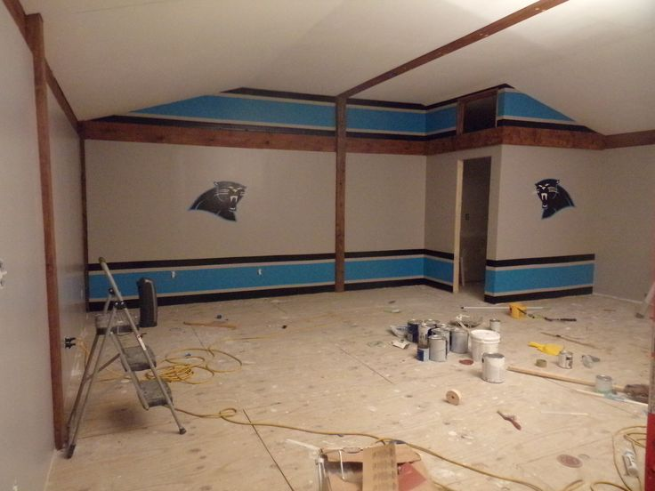 Carolina Panther Game Room Used Painters Tape To Help Get