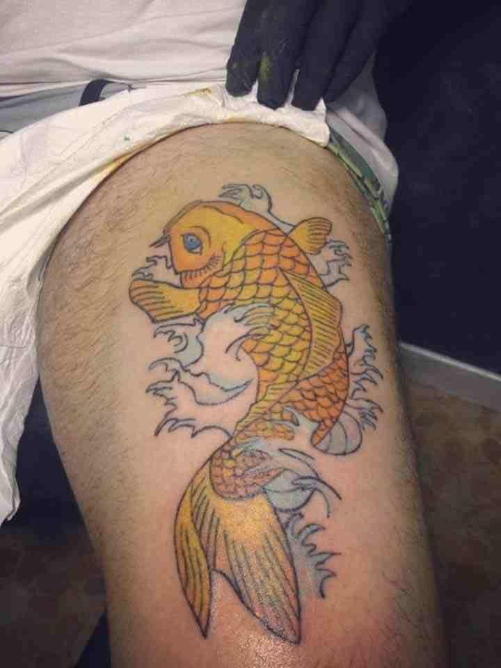 SARI KOİ BALIĞI DÖVMESİ = Yellow Carp Fısh Tattoo