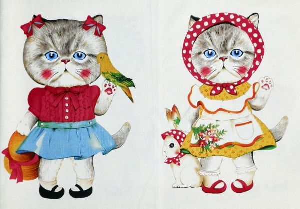 Cute cat fabric from www.craftsuppliesandmore.com #cat #craft #supplies #sew #cutecat #fabric #handmade #diy #kawaii #animalsinclothes