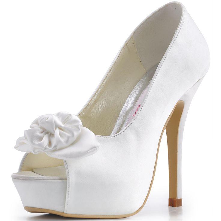 Zomer Nieuwe Handgemaakte Bloemen Beige Satijn Met Hoge Hakken Bruidsschoenen Mode Schoenen