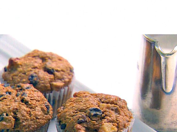 """Chunky Banana Bran Muffins from FoodNetwork.com.  I just made these and they were delicious.  Don't let the """"bran"""" scare you away.  It's a nice alternative to regular banana bread."""