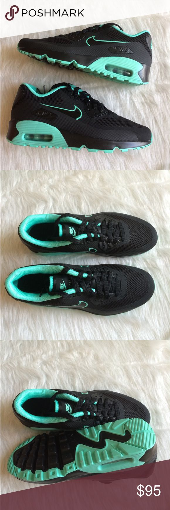 NIKE AIR MAX 90 BLACK TURQUOISE SHOES FB SE Brand new without box. Ships same day or very next. 100% authentic. Comment if you have any questions before purchasing. Shoes are a youth size 7.y. Which is a women's size 8.5. I have added a sizing chart for reference. Nike Shoes Sneakers