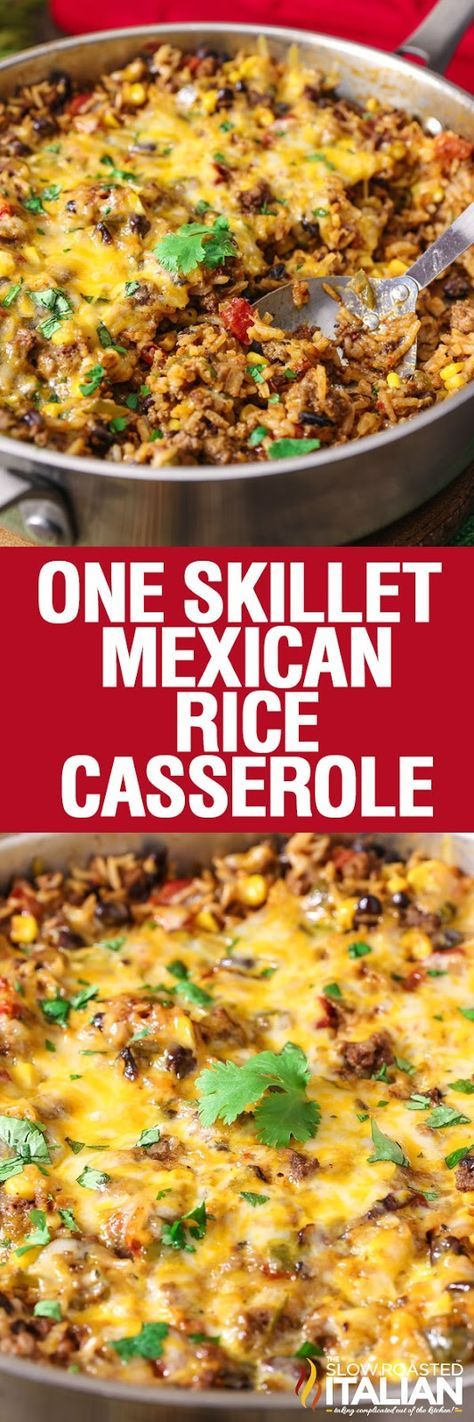 One Skillet Mexican Rice Casserole is a simple recipe that comes together in just 30 minutes. A one pot meal featuring your favorite Mexican flavors that cooks all in one pan. You can