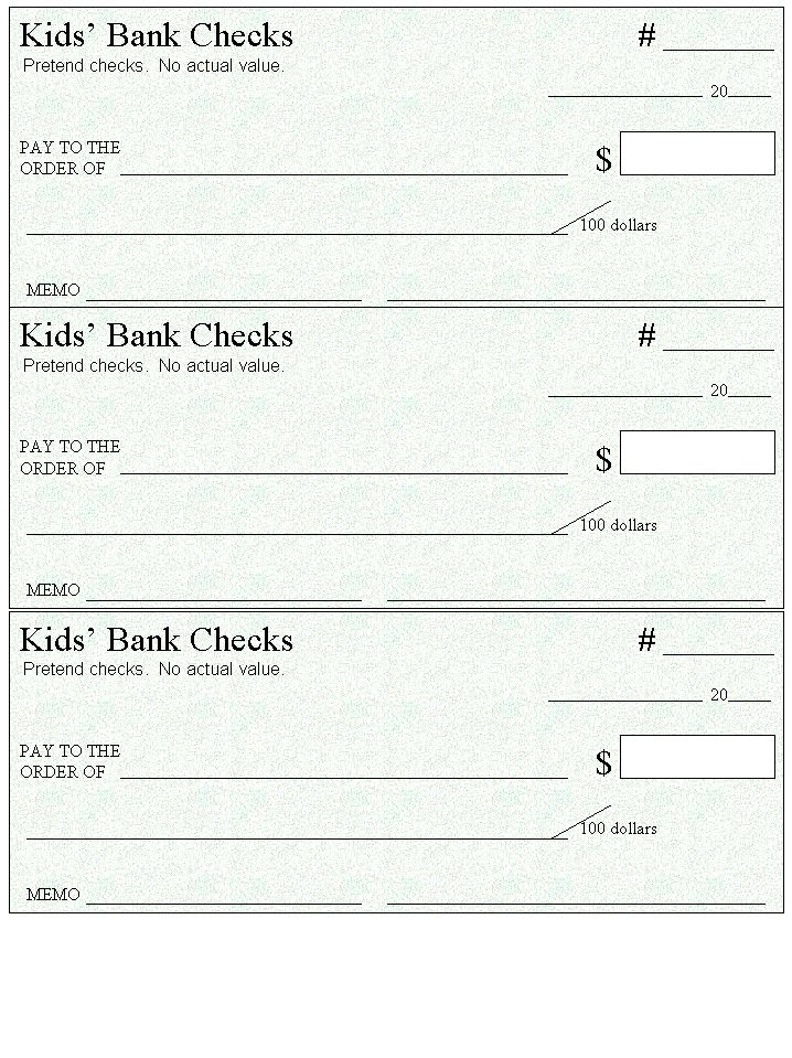 Here's a page of blank checks to use for money and spending activities.