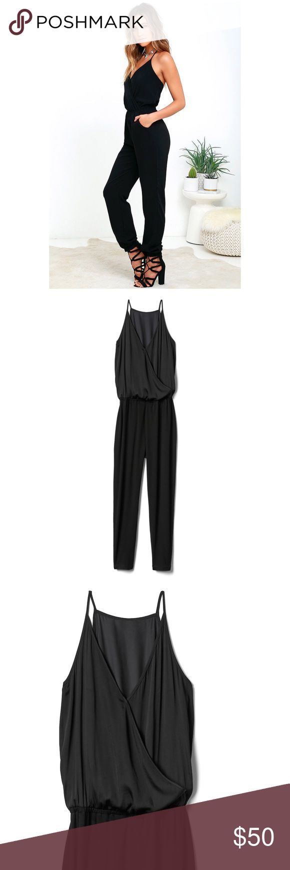 "Gap Wrap Jumpsuit Black Must have this summer. 5 stars rating Gap jumpsuit. Straight silhouette with a cinched waist. Skinny leg opening that skims the ankle. Inseam: regular 27"", tall 31"".  Soft jersey knit.Spaghetti straps. V-neck overlaps in front, hidden snap closure Elasticized waist. Photo # 6, 7, NOT actual item.  96% Rayon, 4% Spandex. Machine wash. No trades. Reasonable offers welcome. GAP Pants Jumpsuits & Rompers"