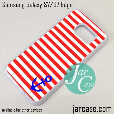 White Red Strips Anchor Phone Case for Samsung Galaxy S7 & S7 Edge