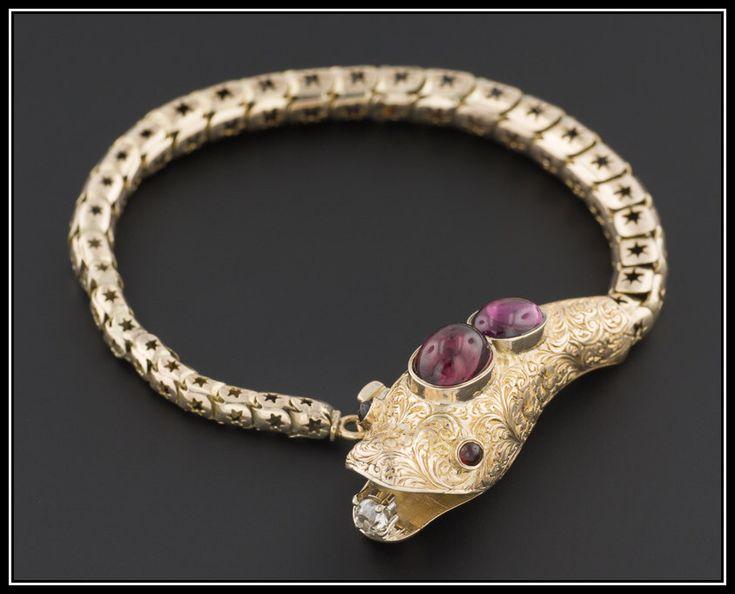 Victorian Snake Bracelet | Antique Garnet & Diamond Snake Bracelet | 14k…