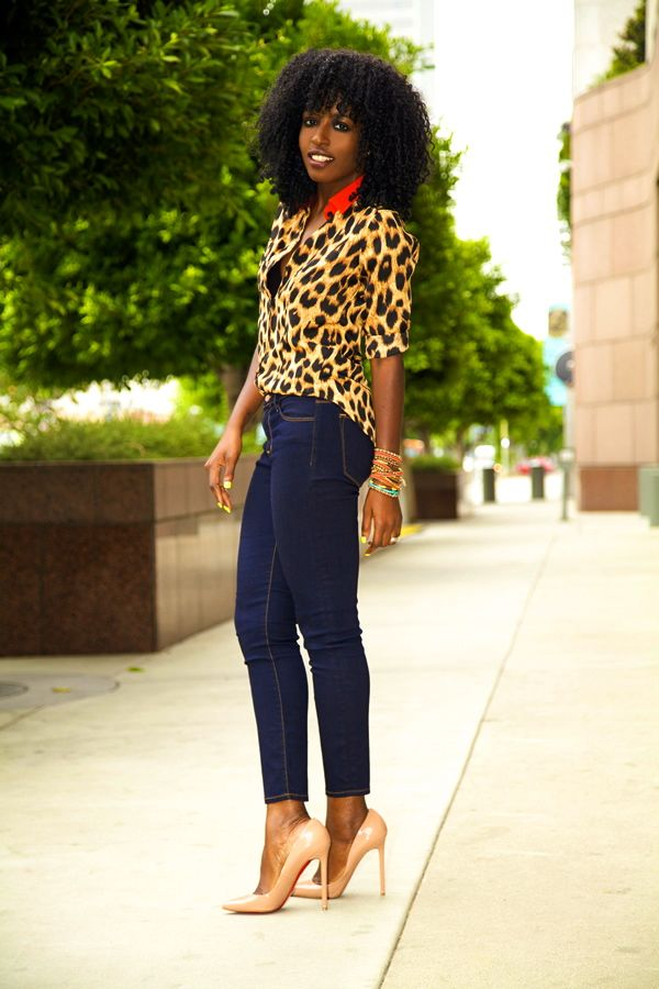 Leopard Print Shirt   Cropped Skinnies