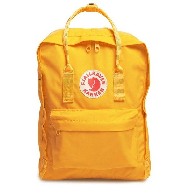 Women's Fjallraven 'Kanken' Water Resistant Backpack ($75) ❤ liked on Polyvore featuring bags, backpacks, warm yellow, rucksack bags, fjällräven, daypack bag, fjallraven rucksack and water resistant bag