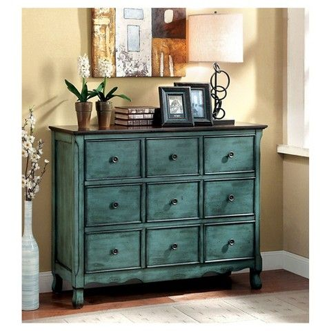 Furniture of America Sommers Vintage 3 Drawer Hallway Chest - Antique Green/Brown