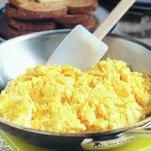 "CREAM CHEESE SCRAMBLED EGGS My favorite ""quickie"" breakfast for when I want eggs. Triple or quadruple the recipe to feed a crowd. Good stick-to-your-ribs Induction food."