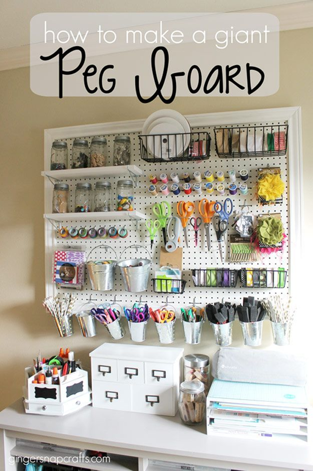 DIY Craft: DIY Craft Room Ideas and Craft Room Organization Projects -  Giant Peg Board  - Cool Ideas for Do It Yourself Craft Storage - fabric, paper, pens, creative tools, crafts supplies and sewing notions |   <a href=