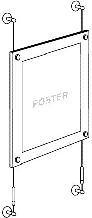 Cable/Rod Suspended Acrylic Poster Display Kits - Frameless Poster Displays
