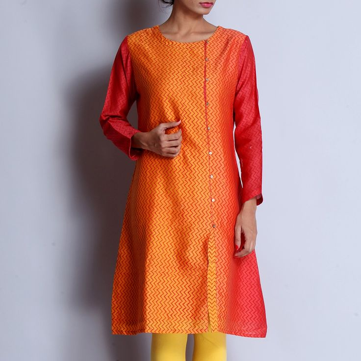 Pink & Yellow Chanderi Hand Block Printed Kurta With Front Button Detailing