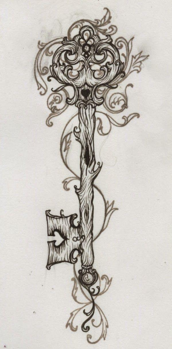 Vintage Key Tumblr, Schl Ssel Tattoo Lilz, Romawi Style Skeleton Key Tattoo Design Sketch Magazine, Heart Key Tattoo Free Tattoos Designs Im...
