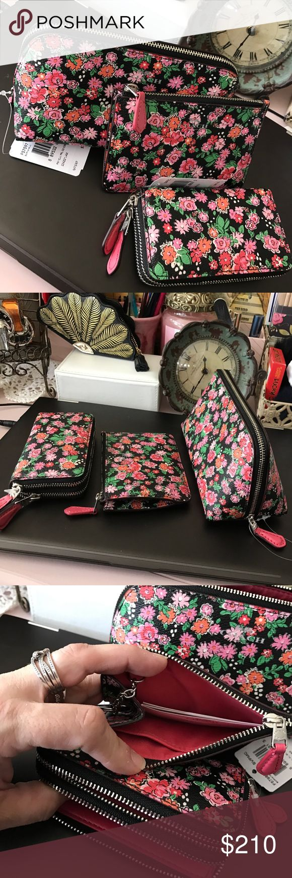 Coach🌺Floral💐3 pc Set Wallets & Cosmetic Case COACH three piece set •Cosmetic Case $80 •Double Zippered Wallet $99 & •Keychain skinny wallet $65 •••••••••••••••MFSRP $244 Coach Bags Wallets