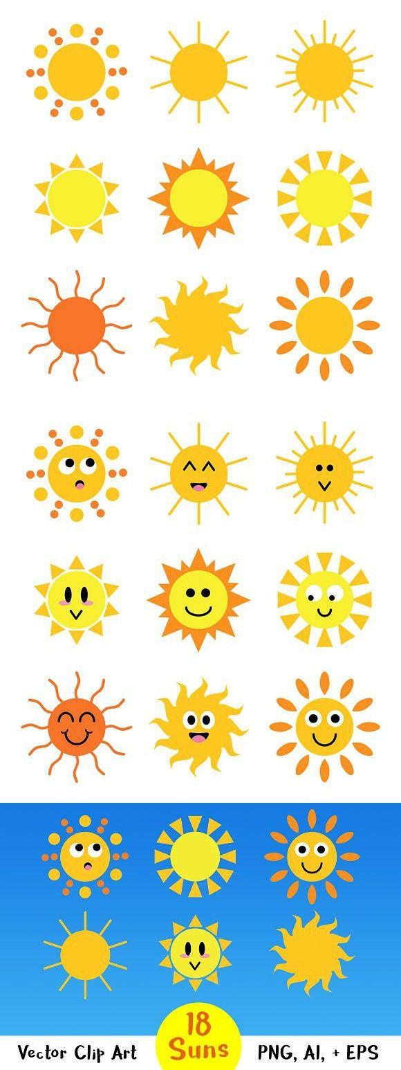 18 Cartoon Suns Graphics Cartoon Sun Sun Clip Art Happy Cartoon