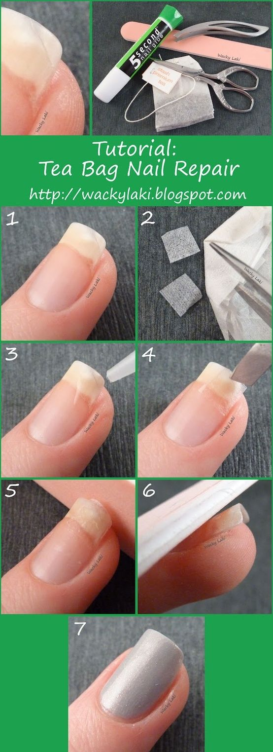 Very Clever! Fix a broken nail with nail glue and a tea bag.