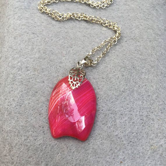 Hot Pink Agate Pendant Botswana Agate Necklace Natural Stone