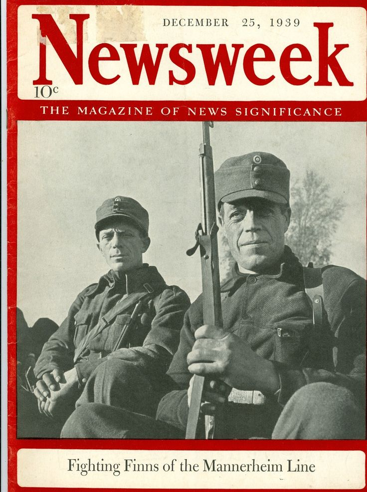 """Fighting Finns of the Mannerheim Line"" - Finland - Newsweek magazine cover - Dec. 25, 1939"