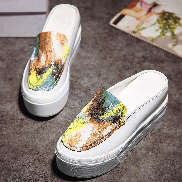 [Visit to Buy] Lotus Jolly 8cm High Heels Slippers Slides Summer Women Creepers Elevator Shoes Woman Flip Flops Platform Wedges Sandalias Mujer #Advertisement