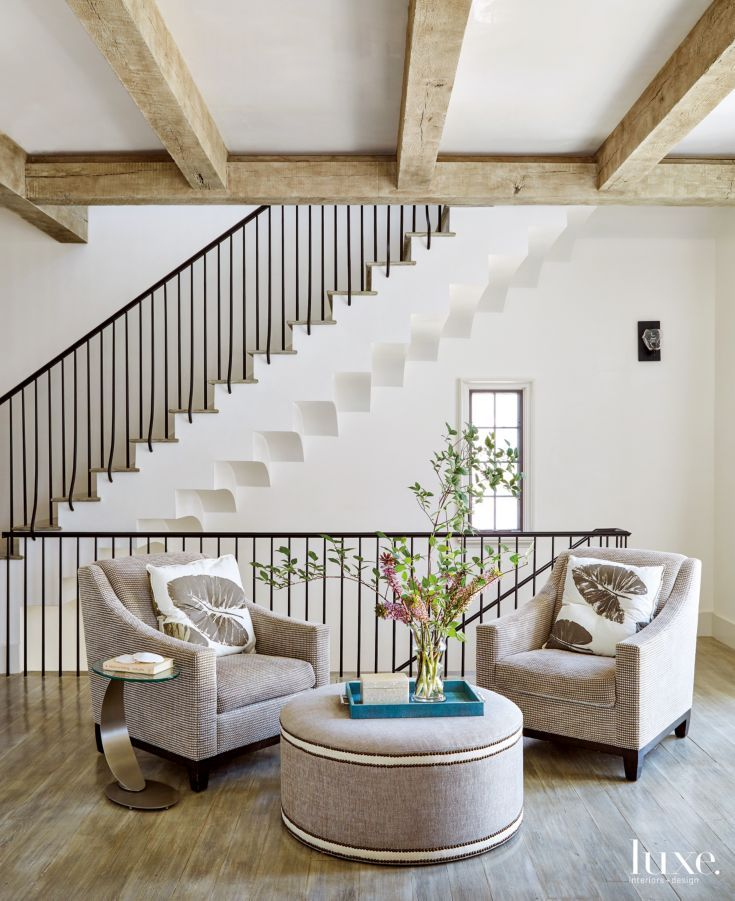 Modern Neutral Seating Area With Wall Staircase Stylish Room Home Interior Design