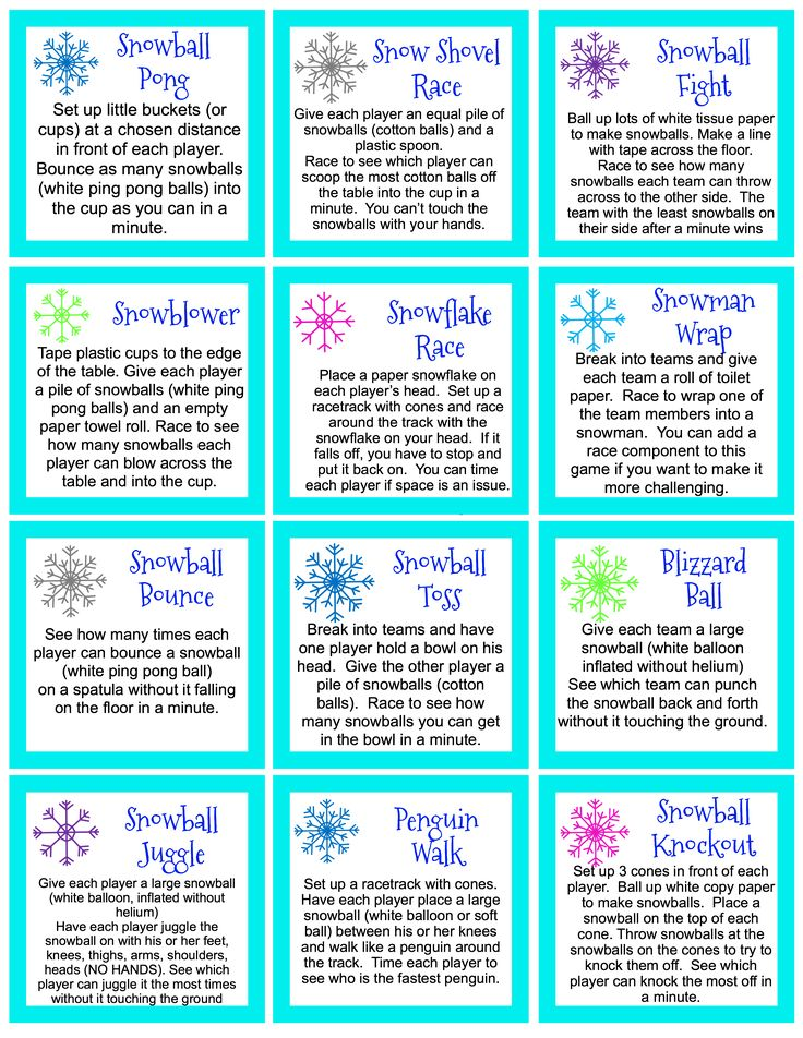 Minute to Win it Style games. Great for the classroom parties or for family fun. Snowball games is one of our newest holiday traditions to have an evening of Snowball Games. Many of these games have also been used for Winter theme holiday classroom parties. Ideas and games have been adapted from a variety of resources. This sheet is my compiled list for home and classroom use.