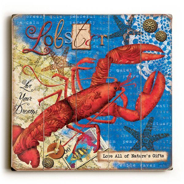 Lobster & Wording Vintage Sign: Beach Decor, Coastal Home
