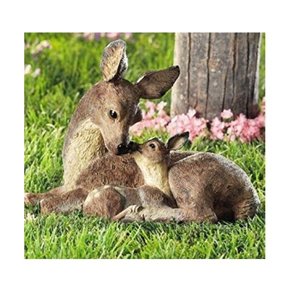 Deer Doe And Fawn Lying Outdoor Garden Statue 40 Liked