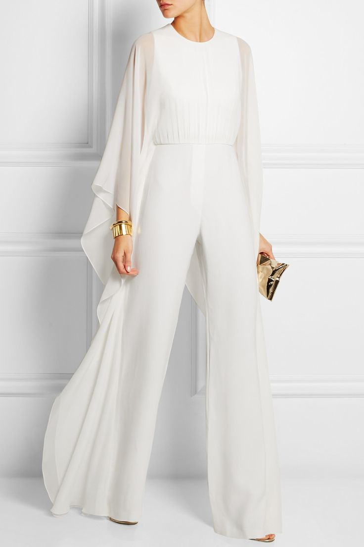 Elie Saab | Silk-chiffon and stretch-crepe jumpsuit | NET-A-PORTER.COM