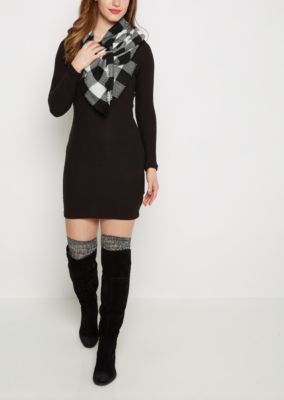 Black Scoop Neck Bodycon Sweater Dress | rue21