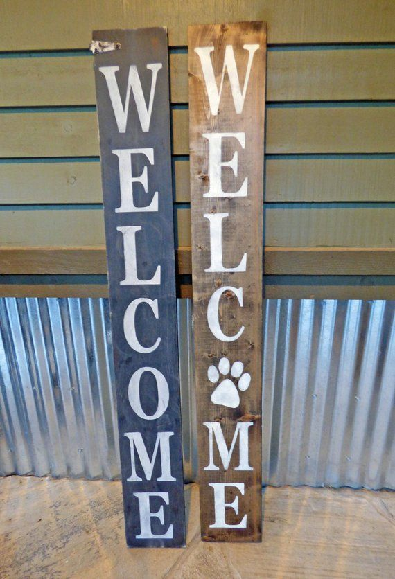 Vertical Welcome Wood And Metal Welcome Front Porch Sign Porch Signs Front Porch Signs Custom Wood Signs
