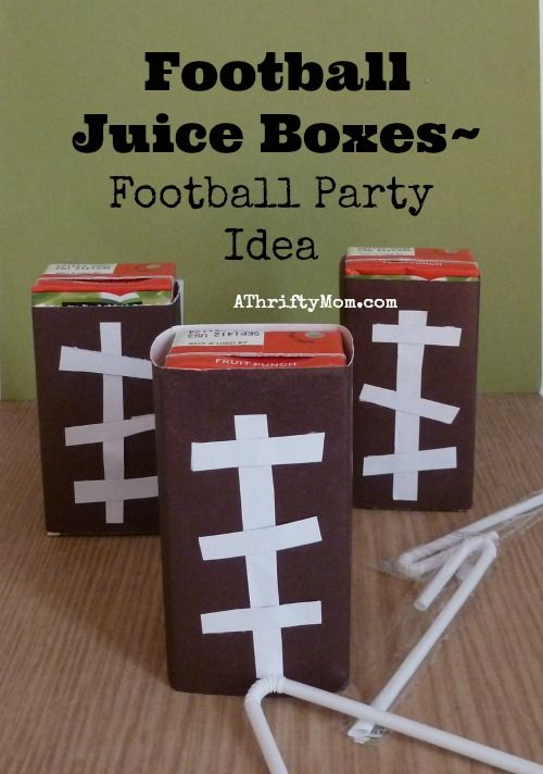 Football Juice Boxes ~ Football Party Idea, Superbowl Party Ideas, Party Drinks,