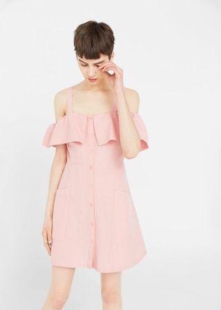 Sukienka lniana z odkrytymi ramionami - Sukienki dla Kobieta | MANGO Polska